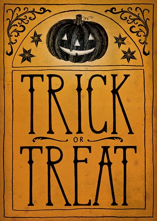 Vintage Halloween Trick Or Treat Fine Art Print By Sara