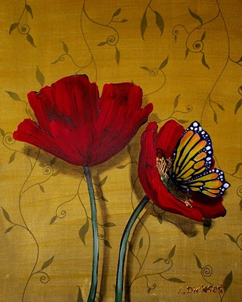 Framed Red Poppies With Yellow Butterfly Print