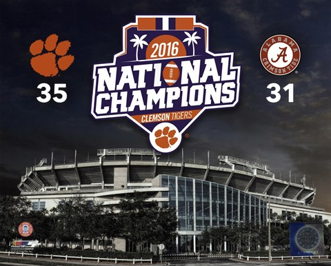 Framed Clemson Tigers 2016 National Champions Stadium Print