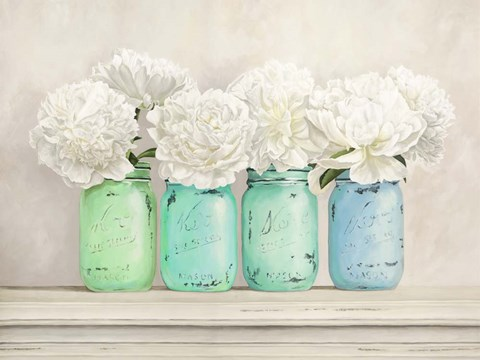 Peonies In Mason Jars Fine Art Print By Jenny Thomlinson