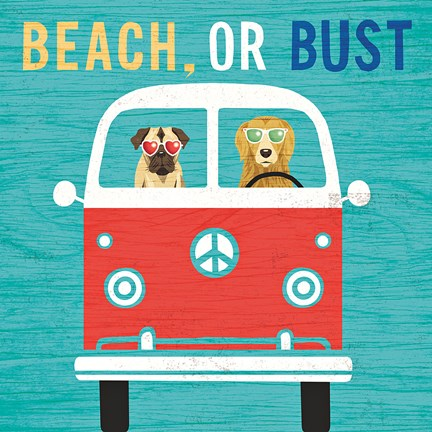 Framed Beach Bums Bus Print
