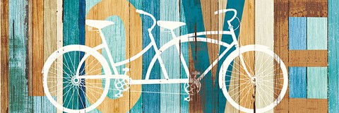 Framed Beachscape Tandem Bicycle Love Print