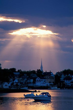 Framed North Church Rises Above Portsmouth, Piscataqua River, New Hampshire Print