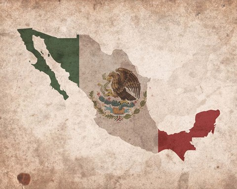 Framed Map with Flag Overlay Mexico Print