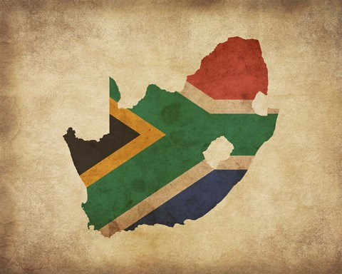 Map With Flag Overlay South Africa Fine Art Print By Color