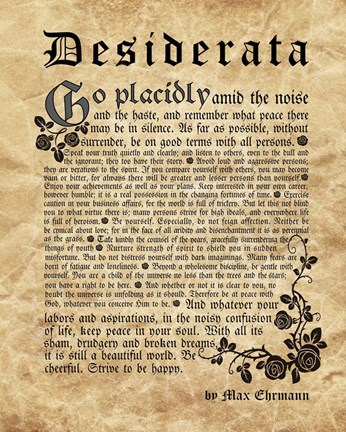 Old English Desiderata Fine Art Print By Quote Master At