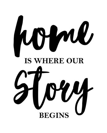 Framed Home Is Where Our Story Begins-Script Print