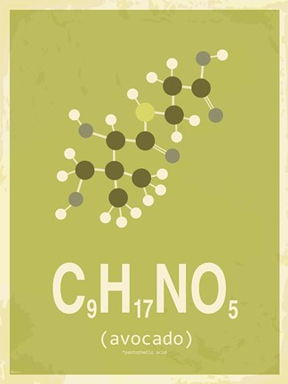 Framed Molecule Avocado Green Print