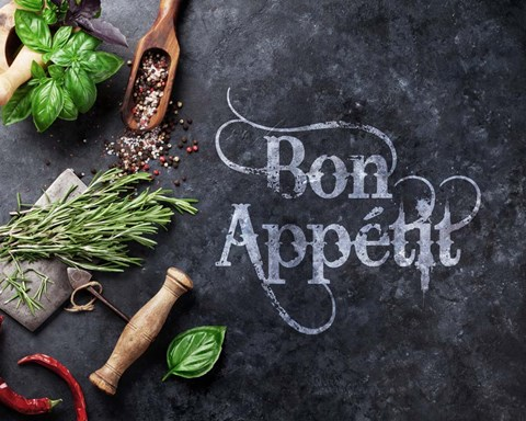 Framed Bon Appetit Herbs and Spices Print