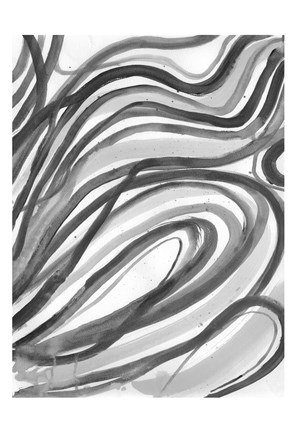 Framed Charcoal Ripples 2 Print
