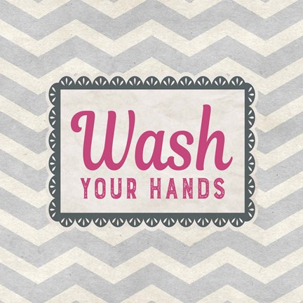 Framed Wash Your Hands Gray Pattern Print