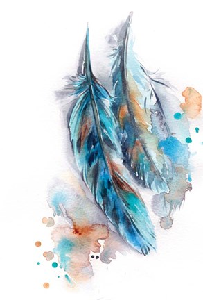 Framed Blue Feather Print