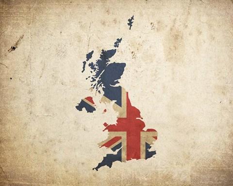 Framed Map With Flag Overlay United Kingdom Print