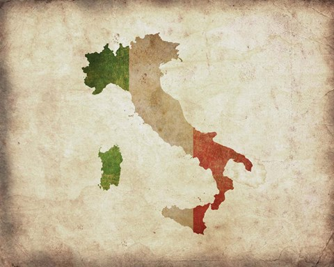 Framed Map with Flag Overlay Italy Print