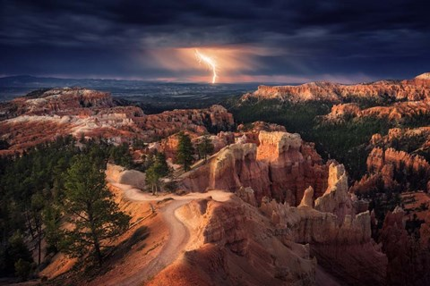 Framed Lightning Over Bryce Canyon Print