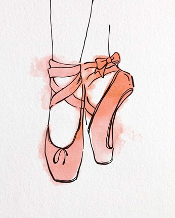 Framed Ballet Shoes En Pointe Orange Watercolor Part III Print