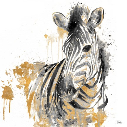 Framed Water Zebra With Gold Print