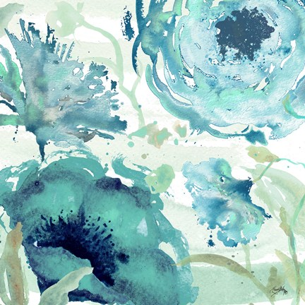 Framed Florals in the Wind II Print