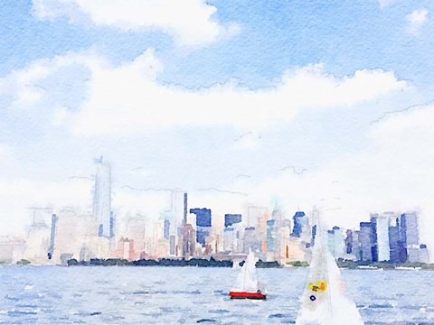 Watercolor NYC Skyline II Fine Art Print by Nola James at ...