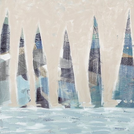 Framed Muted Sail Boats Square I Print