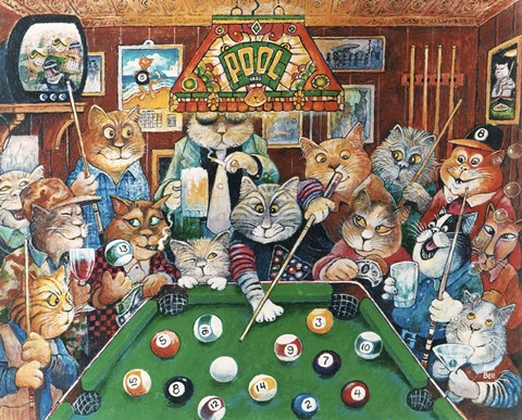 Framed Hustler ( Pool Cats ) Print