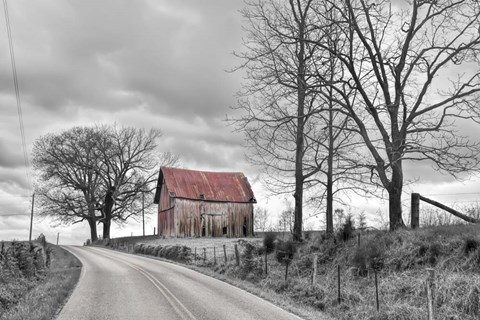 Framed Springs Barn And Road BW Print