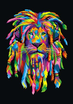 Framed Lion Rasta Print