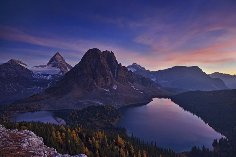 Framed Twilight At Mount Assiniboine Print
