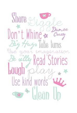 Framed Girls Play Room Rules Print