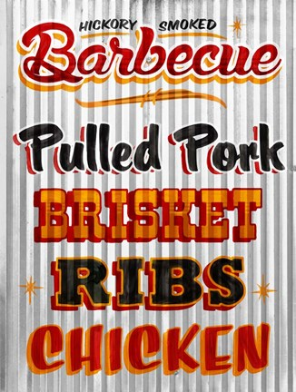 Framed Barbeque Hickory Smoked Corregate Metal Print