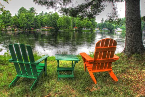Framed Lakeside Chairs Print