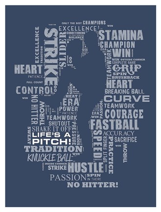 Framed Baseball Words Print