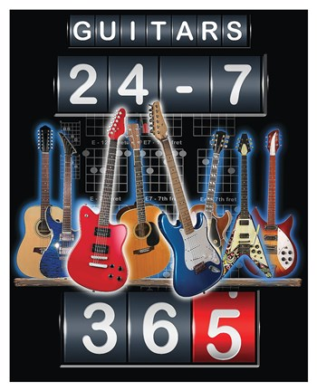 Framed Guitars 24-7, 365 Print