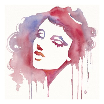 Framed So She Flows (Watercolor portrait) Print