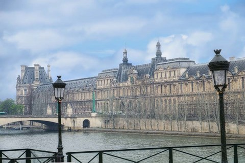 Framed Louvre Palace And Seine River Print