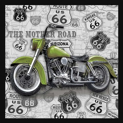 Framed Vintage Motorcycles on Route 66-H Print