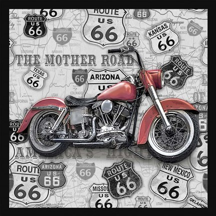 Framed Vintage Motorcycles on Route 66-I Print