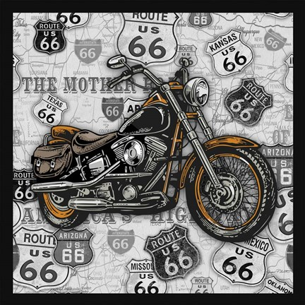 Framed Vintage Motorcycles on Route 66-4 Print
