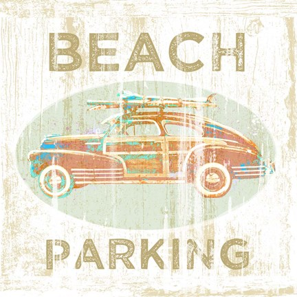 Framed Beach Parking Print