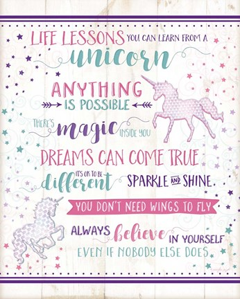 Framed Life Lessons Unicorn Print