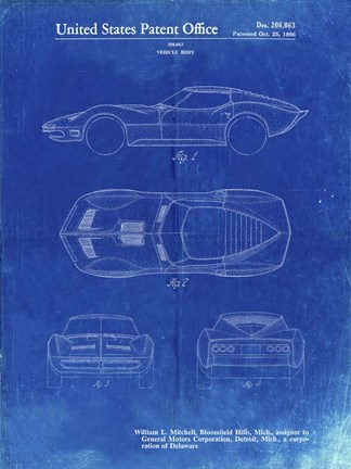 Framed Vehicle Body Patent - Faded Blueprint Print
