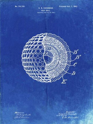 Golf ball patent faded blueprint fine art print by cole borders at cole borders golf ball patent faded blueprint malvernweather