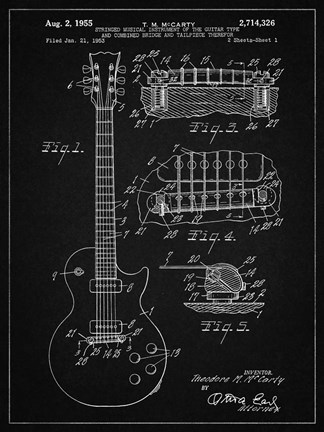 Framed Guitar & Combined Bridge & Tailpiece Therefor Patent - Vintage Black Print