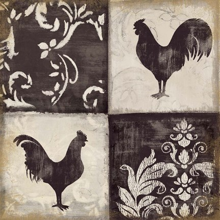 Framed Rooster Silhouette I Print