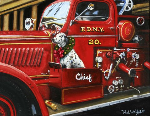 Framed Dalmation Christmas Firetruck Print