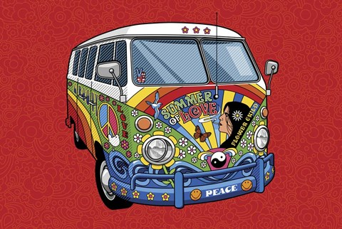 Framed Sixties VW Hippy Van Print