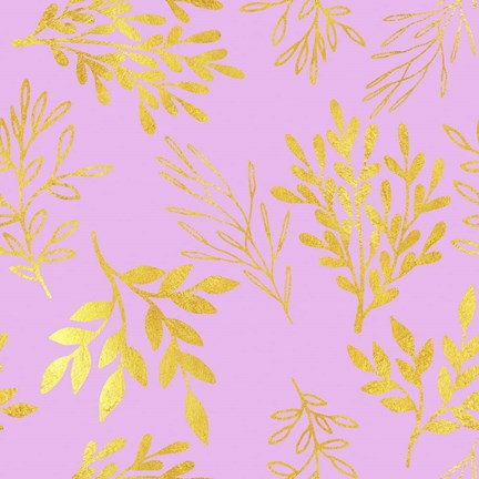 Framed Golden Leaves on Pink Pattern Print