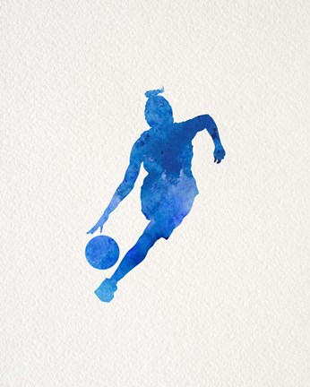 Framed Basketball Girl Watercolor Silhouette Part II Print