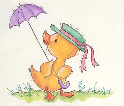 Framed Duck With Umbrella Print