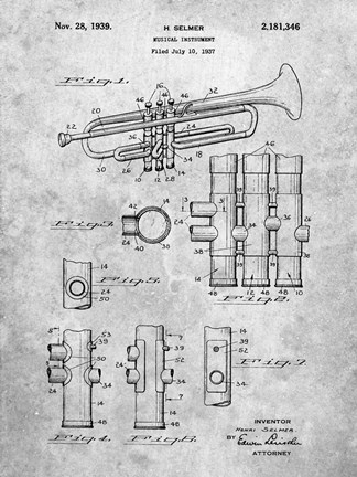 Framed Musical Instrument Patent Print